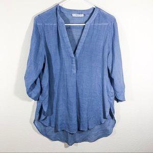 Lush light weight denim color blouse